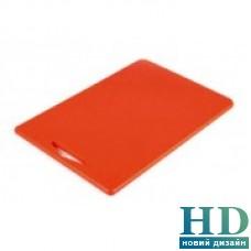 Доска разделочная красная с отверстием; 380*260*10 мм;