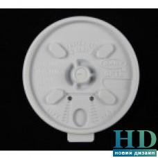 Крышка пластиковая белая универсальная с поилкой для стакана 06032, 72103, 06035,77041, 42259 100 шт/уп