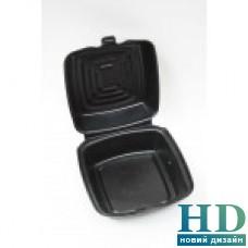Ланч-бокс из вспененного полистирола для сандвичей с крышкой черный,125 шт/уп