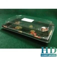 Контейнер для суши прямоугольный 18,5х12,5х4 см с крышкой,50 шт/уп