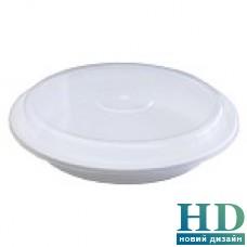 Емкость полипропиленовая круглая с крышкой для СВЧ белая, 480мл, 50шт/уп