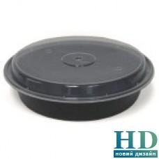 Емкость полипропиленовая круглая с крышкой для СВЧ черная, 710мл, 50шт/уп
