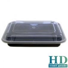 Емкость полипропиленовая прямоугольная с крышкой для СВЧ черная, 830 мл, 50 шт/уп