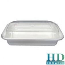 Емкость полипропиленовая прямоугольная с крышкой для СВЧ белая, 830мл, 50шт/уп