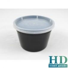 Емкость полипропиленовая круглая с крышкой для СВЧ черная, 360мл, 50 шт/уп