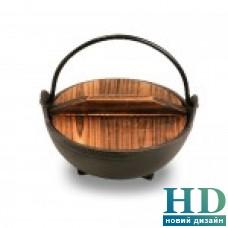 Казанок чугунный с деревянной крышкой  500мл