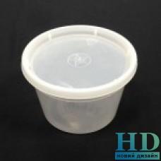Емкость полипропиленовая круглая с крышкой прозрачная, 500мл, 50 шт/уп