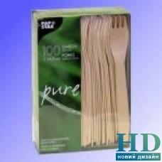 Вилка деревянная 16,5 см 100 шт/уп