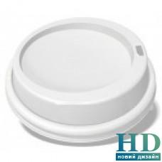 Крышка пластиковая белая  с поилкой  для стакана 350 77011 мл 100 шт/уп
