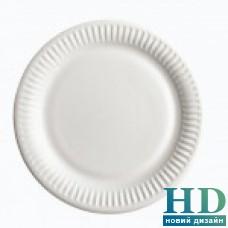Тарелка бумажная белая ламинированая 23 см 100 шт