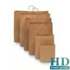 Пакет бумажный с ручками 335*260*140  мм 150 шт/уп