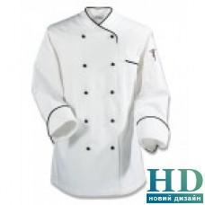 Куртка М поварская, белая с черной окантовкой, коттон,  размер S-XL