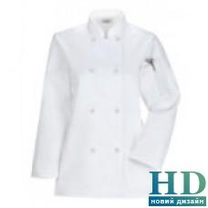 Куртка Ж поварская, рукав длинный, коттон (цвет бел., черн., размер XS-2XL)