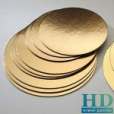 Подложка для торта круглая золотая солнышко 16 см 25 шт/уп