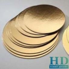 Подложка для торта круглая золотая  22 см 50 шт/уп