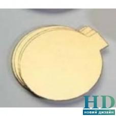 Подложка для торта круглая золотая с ручкой 90 мм 50 шт/уп